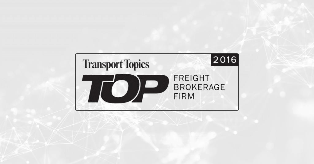 Transport Topics Top Freight Brokerage 2016 Announcement Logo