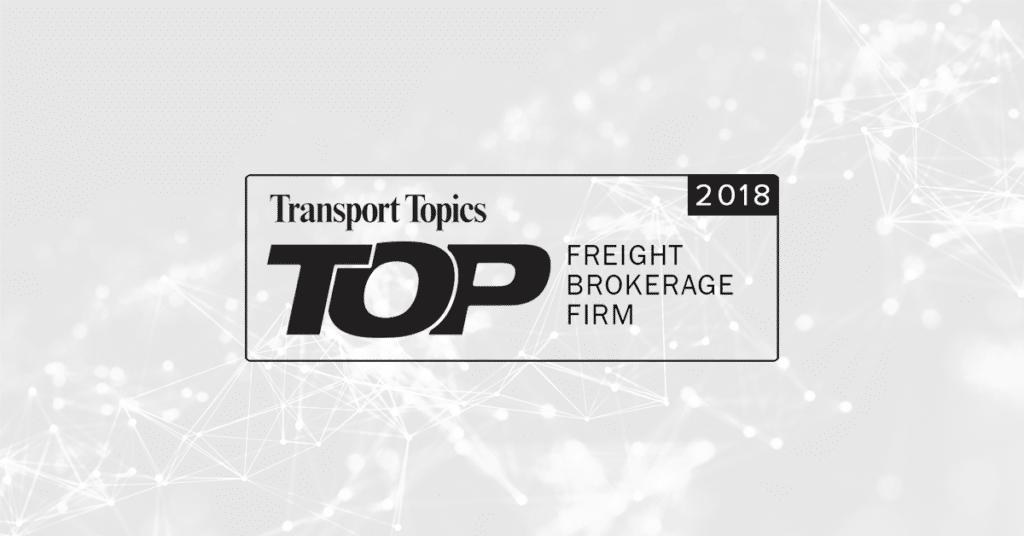 Transport Topics Top Freight Brokerage 2018 Announcement
