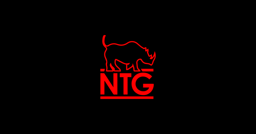 Red NTG logo on black background