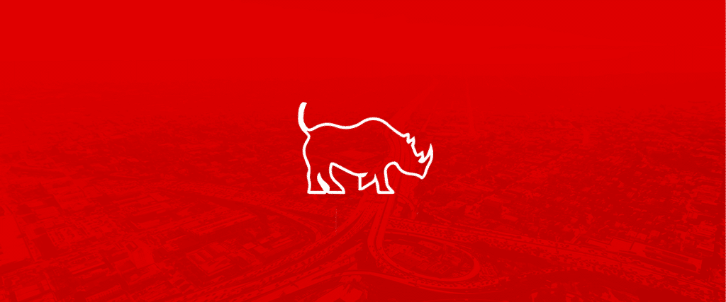 Rhino Logo on Red Background